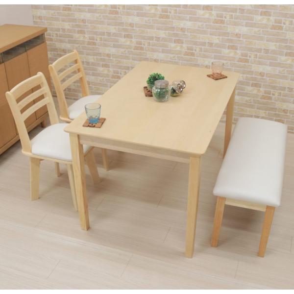 ダイニングテーブルセット 4点 回転椅子 ベンチ付 幅120cm meri120-4-hop371 kent クリア ナチュラル 白木 木製 天然木 アウトレット 10s-3k hg|takara21|08