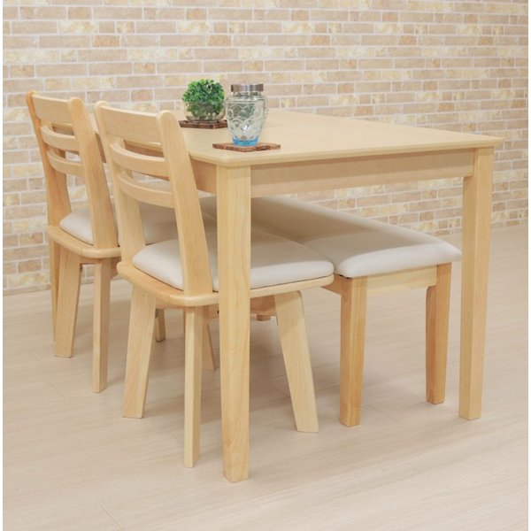 ダイニングテーブルセット 4点 回転椅子 ベンチ付 幅120cm meri120-4-hop371 kent クリア ナチュラル 白木 木製 天然木 アウトレット 10s-3k hg|takara21|10