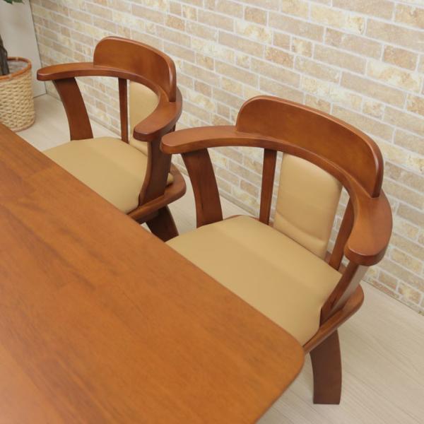 ダイニングテーブルセット 回転椅子 5点セット ミドルブラウン色 ライトブラウン色 4人 135cm bist135-5-moris360  木製 シンプル アウトレット 19s-3k hg so|takara21|09