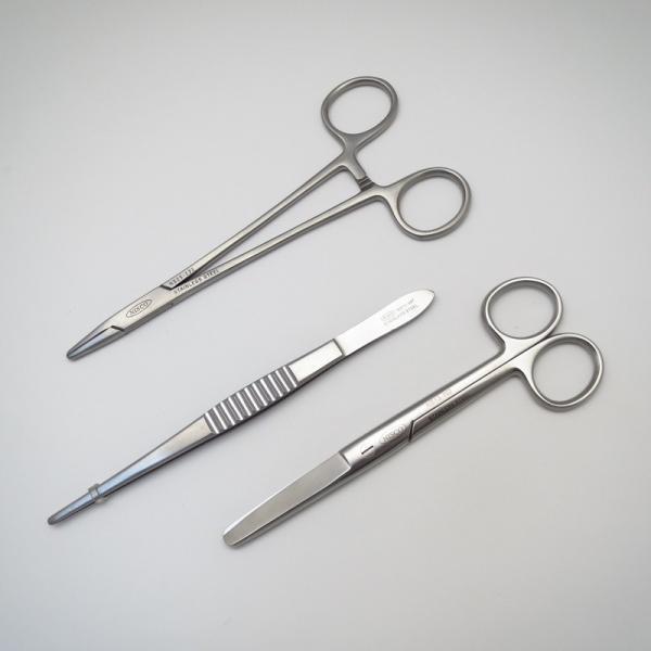 外科器具3点セット(メーヨーヘガール持針器TCなし16.0cm、外科ピンセット15.0cm、剪刀)