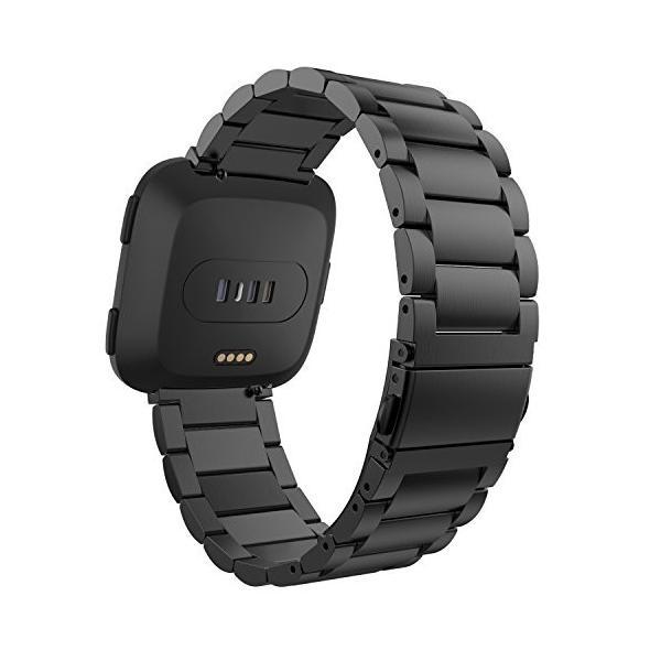 ATiC Fitbit Versa バンド 高級ステンレス製腕時計バンド 交換ベルト Black