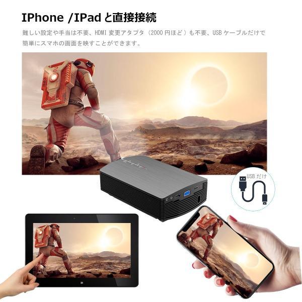 Vamvoプロジェクター iPhone/Android USBケーブル1本だけ連携可 高画質1800ルーメン 1080P 130インチ ホー