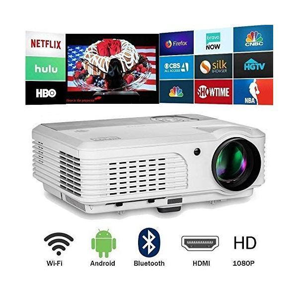 LEDプロジェクター 3600ルーメン Android 6.0 Bluetooth WiFi HDMI USB 高輝度 ホームプロジェクター
