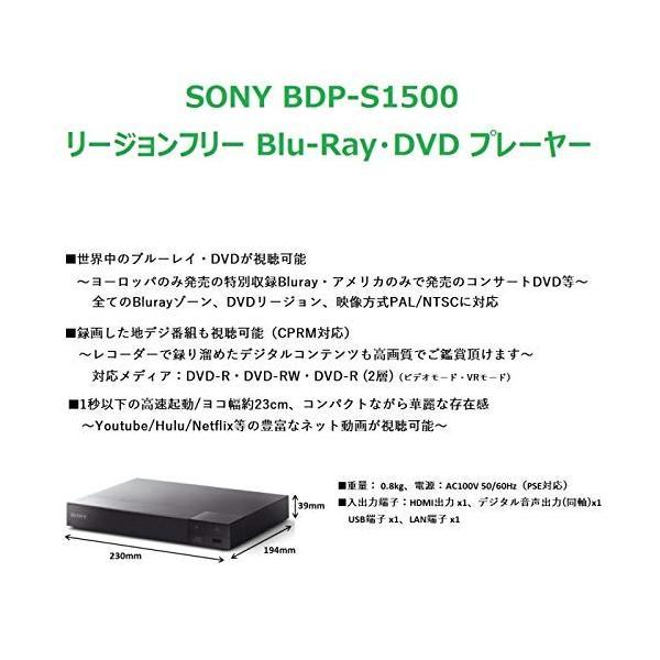 SONY リージョンフリー ブルーレイ/DVDプレーヤー(PAL/NTSC対応 CPRM再生可能) BDP-S1500 ソニー