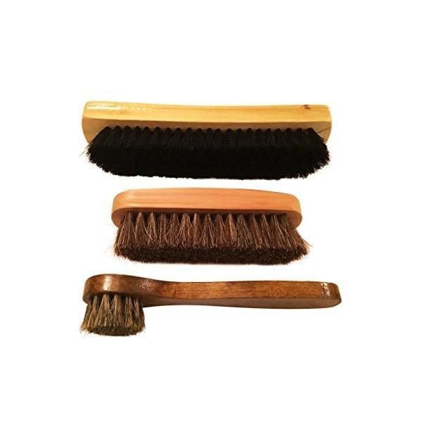 gee's お手入れ 靴磨き ブラシ 3本セット 馬毛ハンドルブラシ 馬毛ブラシ 豚毛ブラシ シューケア 革製品のお手入れに最適