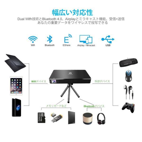 プロジェクター 小型,ミニプロジェクター, 小型 ワイヤレス接続/USB ケーブル接続 DLP式 スマホ iPhone/Android/PS