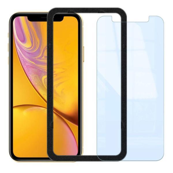 iPhone XR ガラスフィルム ブルーライトカット 簡単装着ガイド付き 日本製素材 硬度9H 指紋防止 気泡防止 自動吸着 ラウンドエッ|takes-shop|07