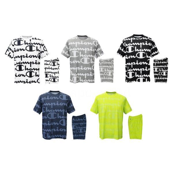 チャンピオン Tシャツ・ハーフパンツ メンズ 上下 Champion 総柄 ビッグロゴ 速乾 防臭 ドライ トレーニングウエア C-VAPOR 送料無料 アウトレット SALE セール|takespo|02