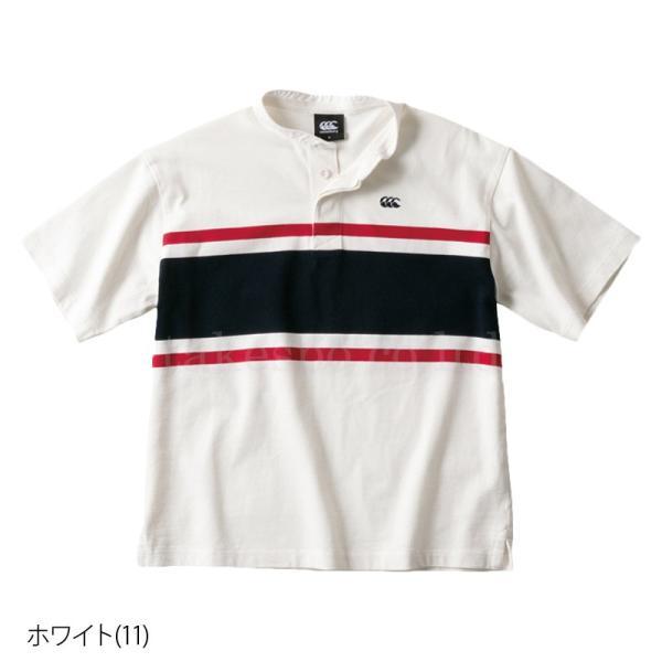 カンタベリー Tシャツ メンズ 上 CANTERBURY ラガーシャツ ノーカラー ストライプ ラグビー 半袖 新作|takespo|03