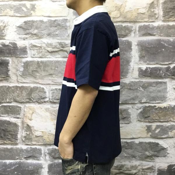 カンタベリー Tシャツ メンズ 上 CANTERBURY ラガーシャツ ノーカラー ストライプ ラグビー 半袖 新作|takespo|06
