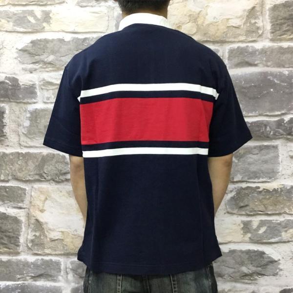 カンタベリー Tシャツ メンズ 上 CANTERBURY ラガーシャツ ノーカラー ストライプ ラグビー 半袖 新作|takespo|07