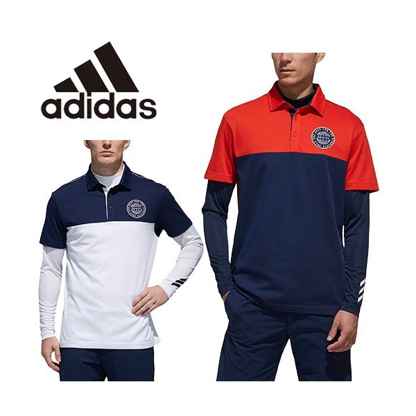 ea3cd49aec94a9 プレミアム会員様限定クーポン進呈中 アディダス ゴルフ メンズ シャツ レイヤードシャツ アディクロス ADICROSS