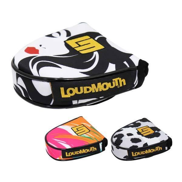 ラウドマウスゴルフパターカバーヘッドカバーマレット型メンズレディースマグネット個性的派手LOUDMOUTH総柄黒白黄カラフルLM