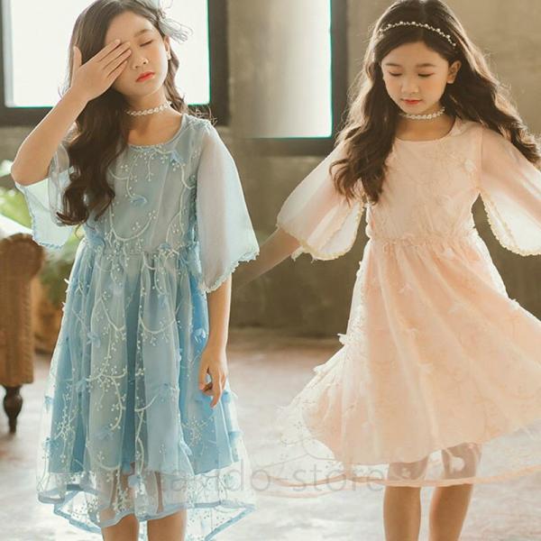 d77893b1fc30c 子供服 子供 ワンピース 女の子 キッズワンピース 半袖 水色 ベージュ 白 ワンピース 女の子 夏 韓国ワンピース ...