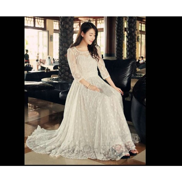 1ea9c02ecd8d6 ... パーティードレス ウェディングドレス 袖あり マキシワンピース ロングドレス ビスチェ 花嫁ウェディングドレス 結婚式 ...