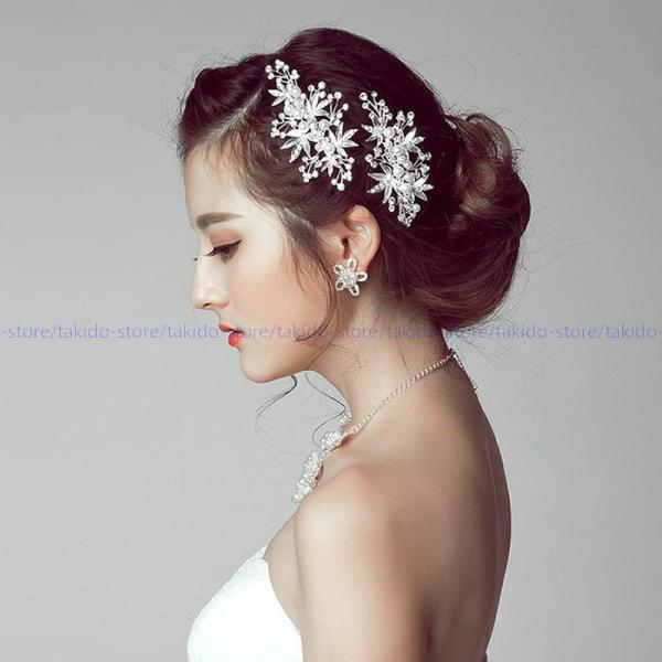 人気新品 ヘッドドレス ネックレス イヤリング 3点セット 結婚式 ブライダルアクセサリー ウェディング アクセサリー パーティ 二次会 花嫁 披露宴 定番