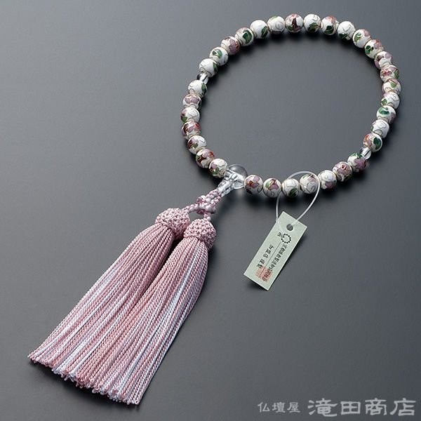 数珠 女性用 七宝焼(白) 本水晶仕立 8mm玉 念珠袋付き takita 02