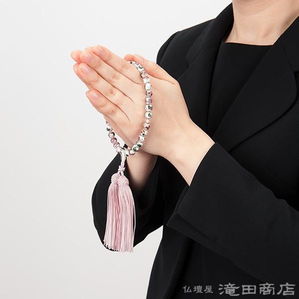 数珠 女性用 七宝焼(白) 本水晶仕立 8mm玉 念珠袋付き takita 06