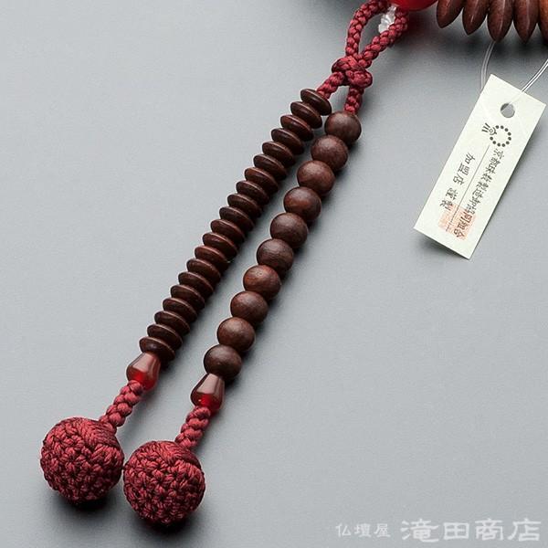 数珠 天台宗 女性用 紫檀(艶消) メノウ仕立 8寸 宗派別念珠 数珠袋付き|takita|05
