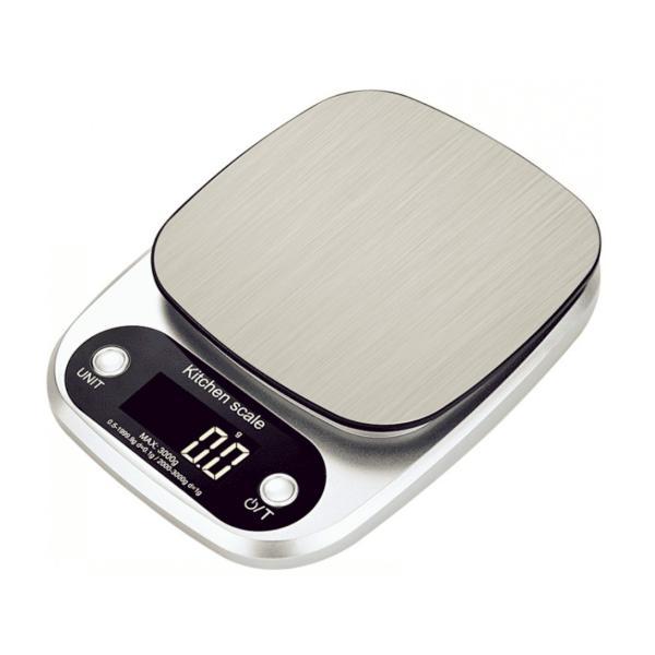 デジタルキッチンスケール (5kg-0.1g,10kg-1g)  クッキングスケール ステンレス皿 厨房秤 デジタル秤 天平 はかり デジタル秤
