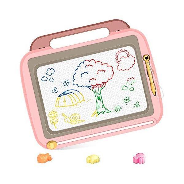 お絵かきボード4色マグネット式お絵かきセット落書き消去 磁石ボードスタンプ付き子供おもちゃプ