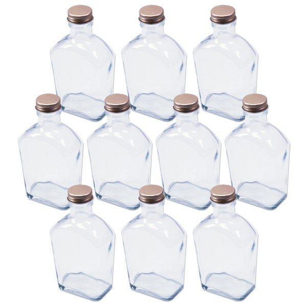 ハーバリウム 角スキットル型 ガラス瓶 200cc 10本セット キャップ付 硝子ビン 透明瓶 ウイスキーボトル 花材 ウエディング プリザーブドフラワー