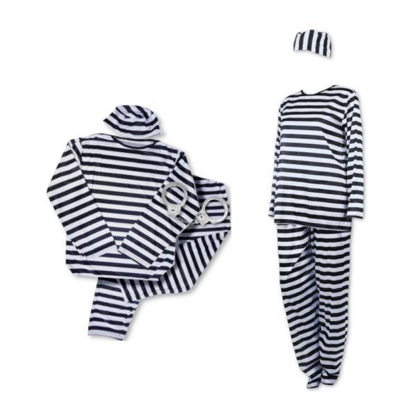 囚人服 ハロウィン コスプレ 4点セット 男女兼用 フリーサイズ 白黒ボーダー コスチューム|takuta2