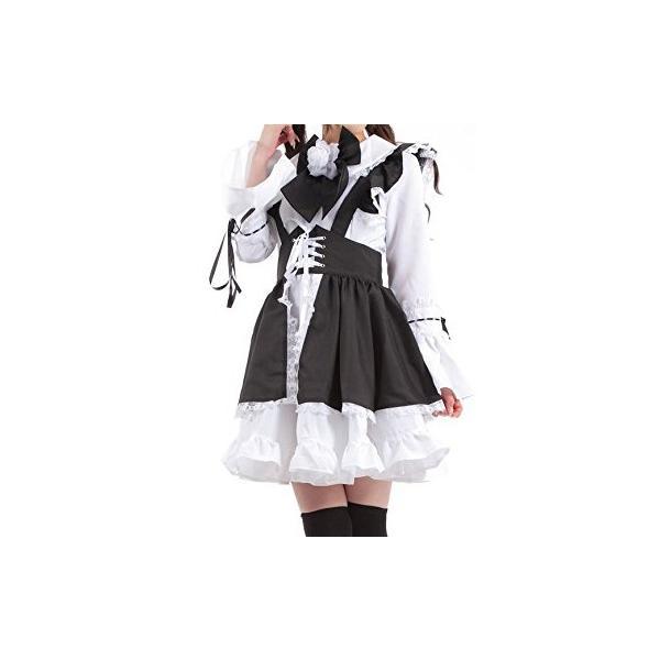 レディース 白黒メイド服 コスチューム カチューシャ付き Mサイズ|takuta2|02