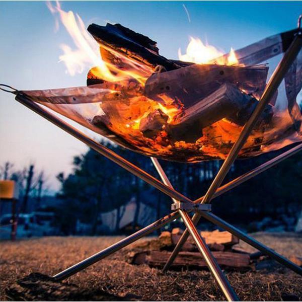 焚火 焚き火台 ファイアスタンド 簡単組み立て 軽量 コンパクト 折りたたみ メッシュシート 薪をきれいに燃やせる アウトドア ソロキャンプにも takuta2 05