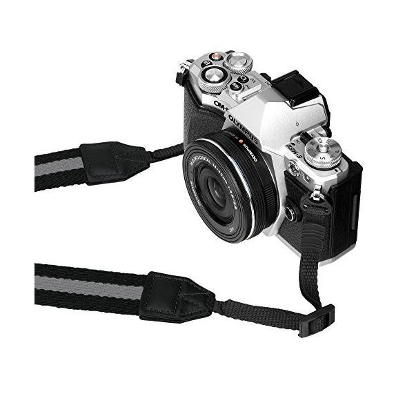 HAKUBA カメラストラップ プラスシェル ストライプストラップ30 一眼レフ/ ミラーレス一眼用 ブラック×グレー KST-67ST30BKGY