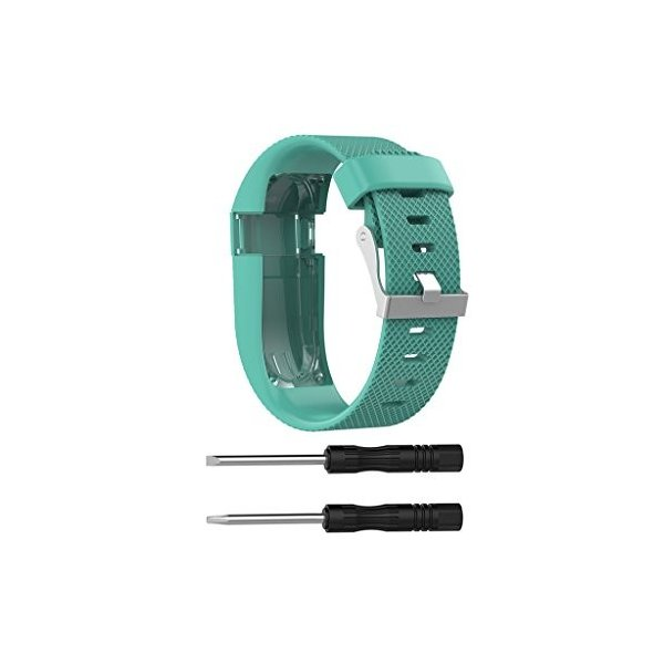 Xberstar Fitbit Charge HR バンド ベルト 交換バンド シリコン製 工具付 2サイズ (ティールグリーン Sサイズ)