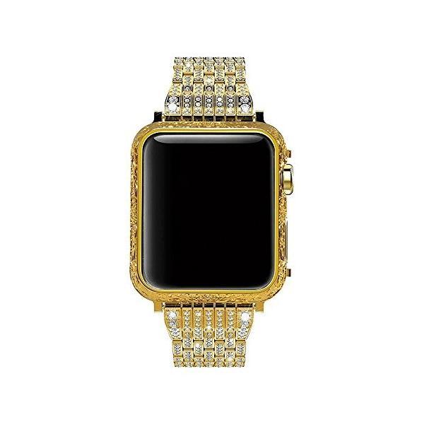JUSTEK Apple Watch 対応バンド ステンレス鋼製 手作り 7珠 ラインストーンダイヤモンド装飾 華奢ジュエリー iWatch Ser