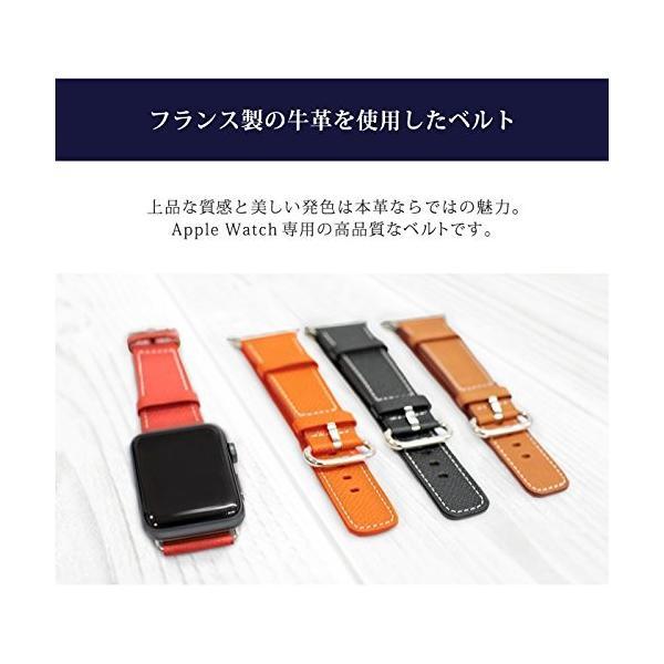 Apple Watch ベルト バンド アップルウォッチバンド 38mm 40mm 【03.レッド】 革 本革 レザー 高級