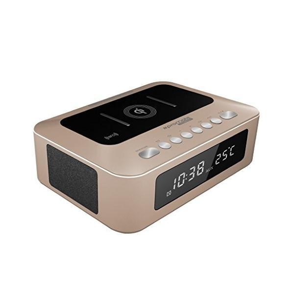 Promate 多機能 ステレオ ワイヤレス スピーカー & Qi ワイヤレス 充電ステーション LED目覚まし時計/FMラジオ / 2.1Aデュア