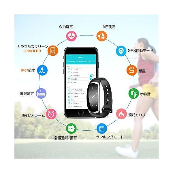【2018 最新版】 スマートブレスレット Hokonui スマートウォッチ 血圧計 心拍計 消費カロリー カラースクリーン 活動量計 歩数計 IP