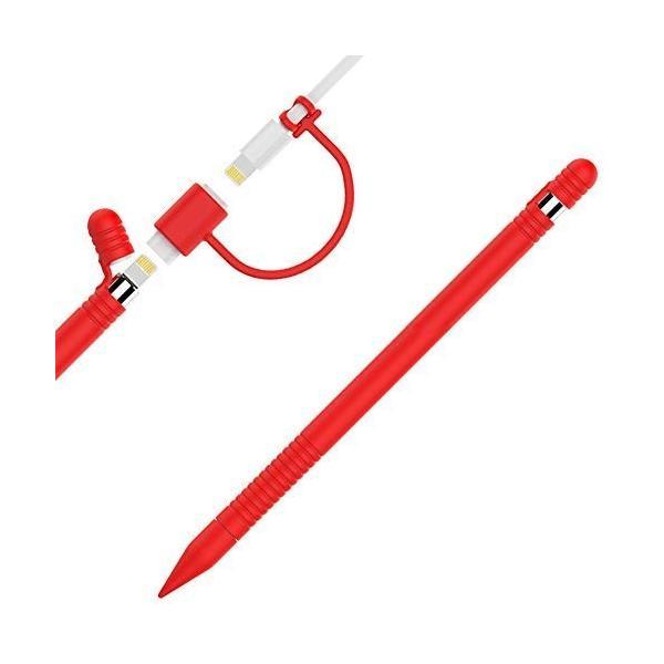 Apple Pencil用シリコンケース 滑り止めスキンスリーブ iPad Proペン ボディチップキャップアダプターカバー (レッド)|tam-com
