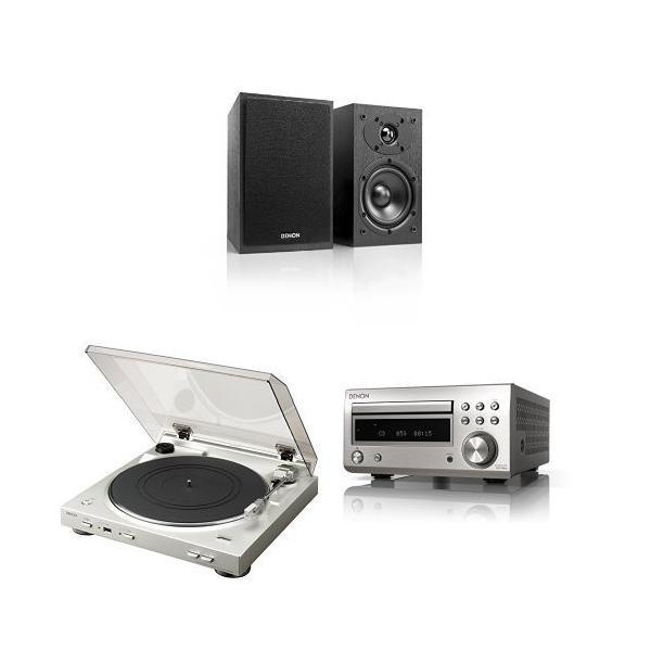 DENON アナログレコード & CDプレーヤーセット ブラック/シルバー/シルバー  [SC-M41 + DP-200USB + RCD-M41]