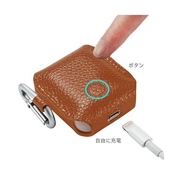 AirPods 本革ケース 保護 収納カバー 手作り カラビナストラップ付き 紛失防止 Apple ワイヤレスイヤホン専用 ブラウン