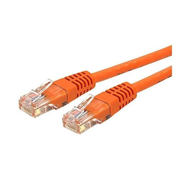 スターテック.com Cat6対応LANケーブル 1.8m カテゴリ6対応イーサネットケーブル モールド処理済みRJ45コネクタ オレンジ C6PA