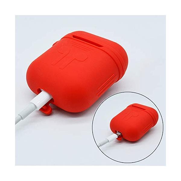Apple AirPods ケース シリコンカバー ネックストラップ付き Appleワイヤレスイヤホン用 滑り止め 耐衝撃 落下・紛失防止 イヤーフ