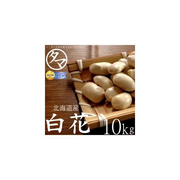 白花豆 10kg 北海道産 令和元年産 無添加 国産 まめ 豆 生豆 業務用 送料無料