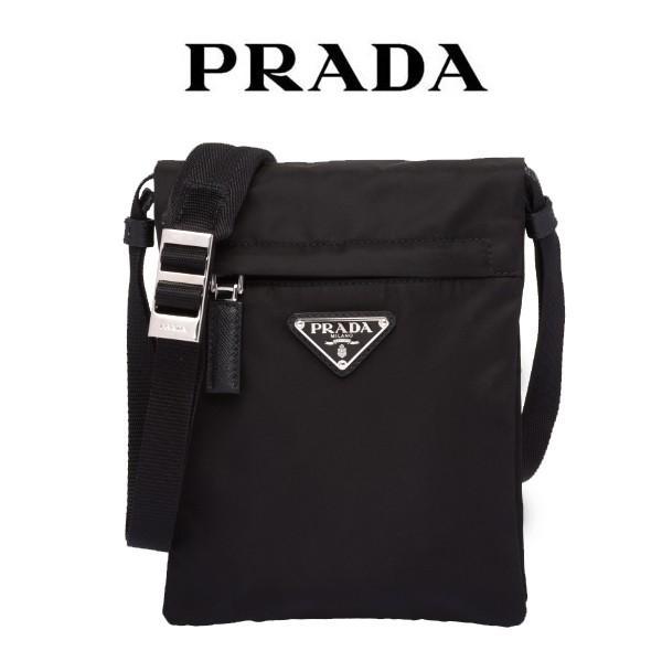 ed8f0373741b プラダ テクニカル ファブリック クロスボディバッグ PRADA ショルダーバッグ プレートロゴ 黒 メンズ 8050533552097  2vh059( ...