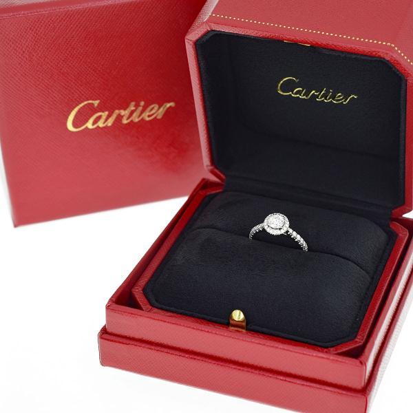 Cartier カルティエ デスティネ ソリテール ダイヤ(D0.43ct G-VVS2-3Ex) リング Pt950 プラチナ 日本サイズ約8号 #48 GIA鑑定書 31040112