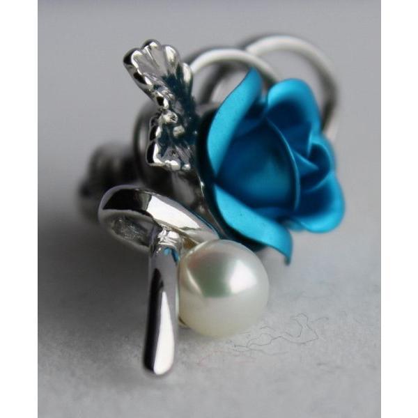 パールタックブローチ 青い薔薇 レディスアクセサリー 伊勢志摩産 アコヤ真珠