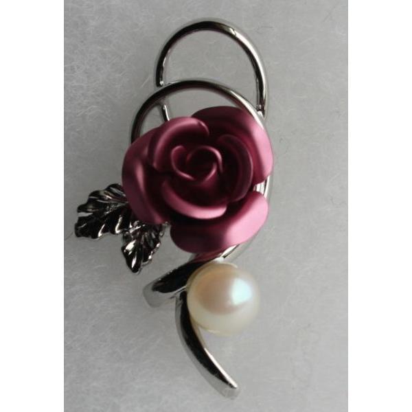 ピンクの薔薇 パール タックブローチ アクセサリー 伊勢志摩産 アコヤ真珠 バラ ギフト おしゃれ