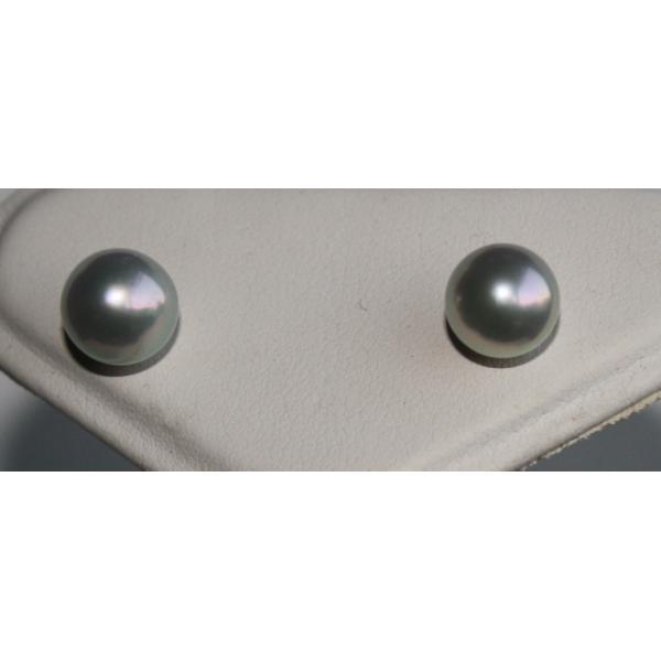 ブルーパール ピアス WG 8-8.5mm 直結 伊勢志摩産 アコヤ真珠