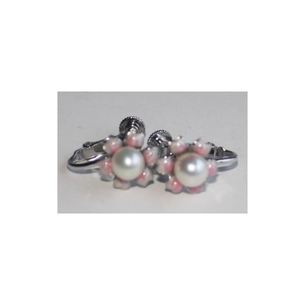 可愛いピンク花のイヤリングナチュラルパール 伊勢志摩産 アコヤ真珠 ネジバネ式 シルバー925 レディースアクセサリー お誕生日プレゼント 真珠の里