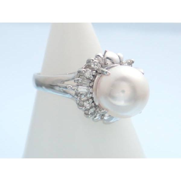 パール9ミリ 真珠 ダイヤ0.25ct プラチナ pt900 指輪 リング 11号