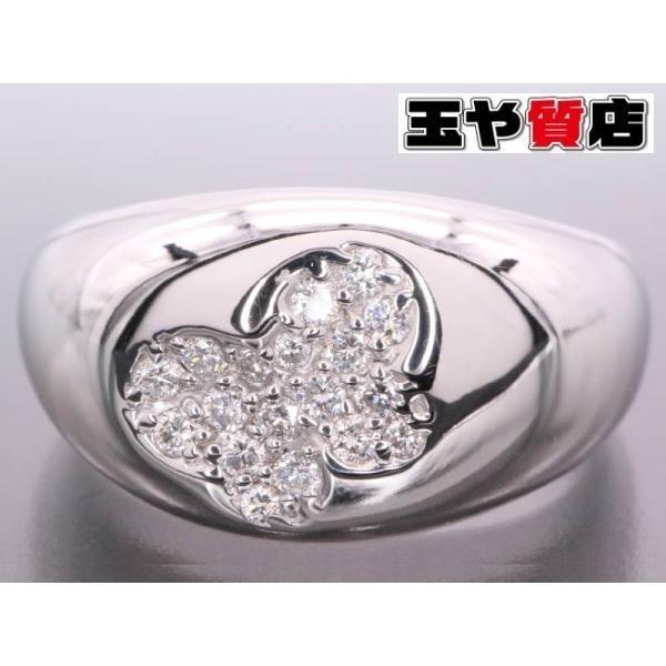 ポンテヴェキオ ダイヤ0.16ct 蝶 パヴェ デザイン リング 13号 K18WG ホワイトゴールド 新品同様