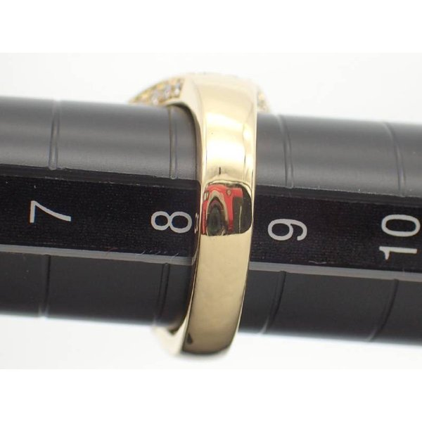 リング 8.5号 セミラウンドシェープ ゴールデンパール12.3−12.6ミリ ダイヤ0.98ct デザイン K18YG イエローゴールド 鑑別書 新品同様
